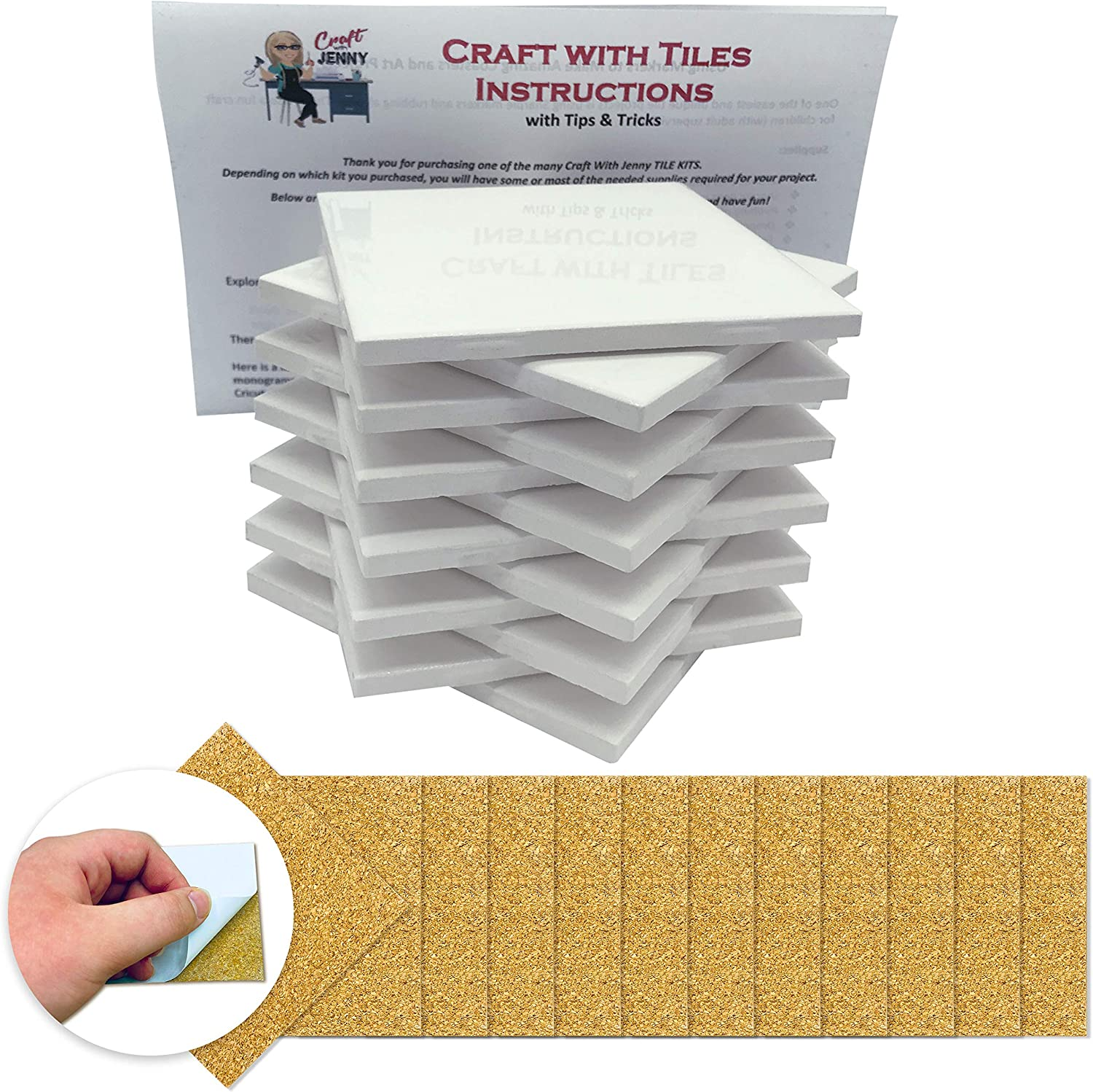 Amazon Com Coaster Tile Craft Kit Set Of 12 Ceramic White Tiles 4x4 With Detailed Instructions Plus Tips And Tricks Diy Make Your Own Coasters Mosaics Painting Projects Decoupage Arts Crafts Sewing