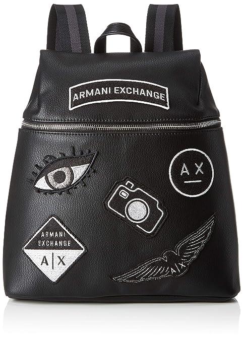 Armani Exchange - Patchwork Backpack, Carteras de mano con asa Mujer, Negro (Nero