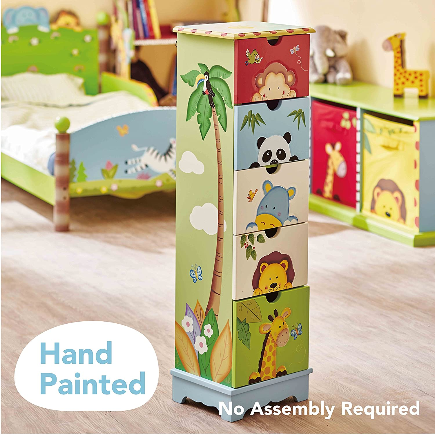 Kids wooden toy chest sunny safari - Amazon Com Fantasy Fields Sunny Safari Animals Thematic 5 Drawer Wooden Cabinet For Kids Storage Imagination Inspiring Hand Crafted Painted Details