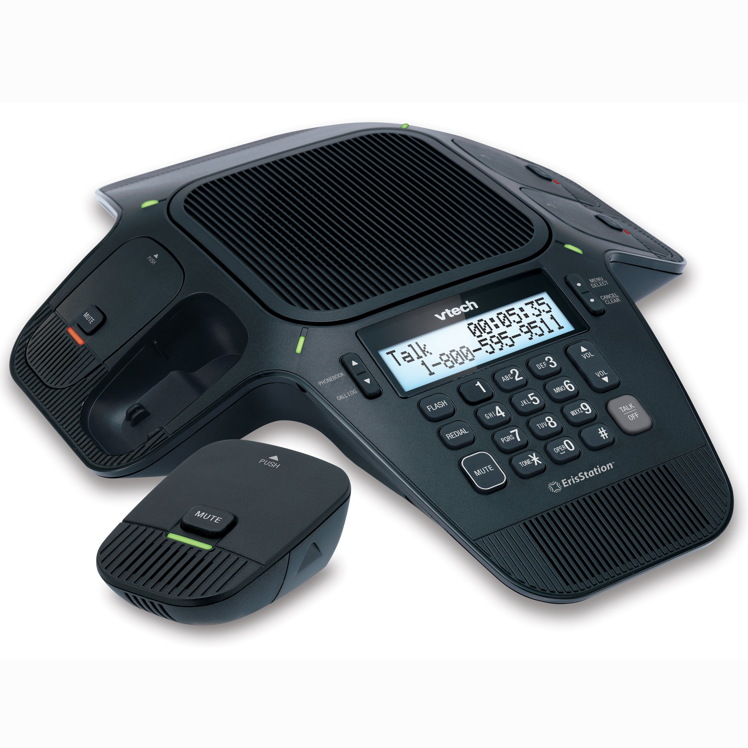 VTech VCS704 ErisStation DECT 6.0 Conference Phone with Four Wireless Mics using Orbitlink Wireless Technology by VTech