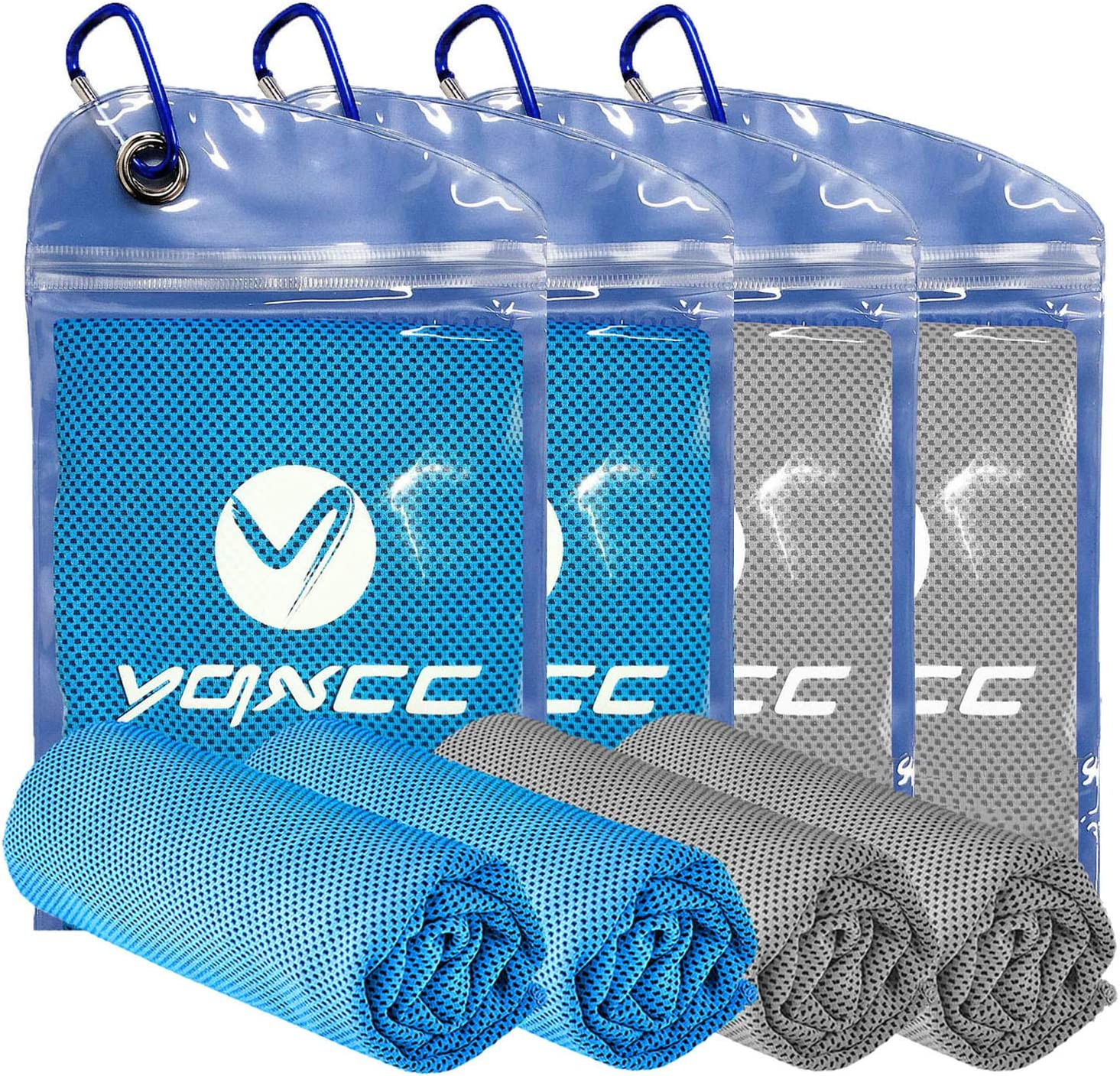 """YQXCC Cooling Towel 4 Packs (47""""x12"""") Microfiber Towel Yoga Towel for Men or Women Ice Cold Towels for Yoga Gym Travel Camping Golf Football & Outdoor Sports (Light Blue2/Light Gray2)"""
