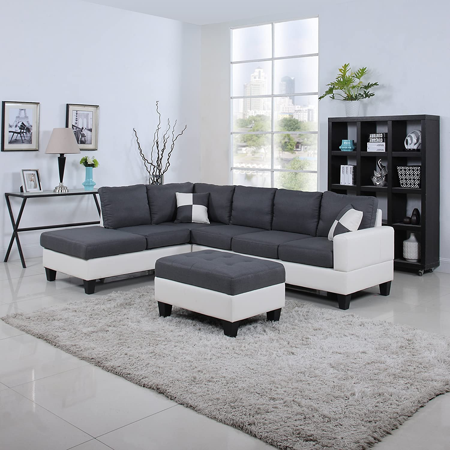 Amazon.com: Classic Two Tone Large Linen Fabric And Bonded Leather Living  Room Sectional Sofa (White / Dark Grey): Kitchen U0026 Dining