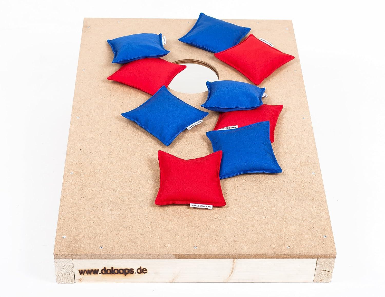 Original Cornhole Spielset - ein Cornhole Board und 8 Cornhole Bags (je 4 rote und 4 blaue Cornhole Bags), original deutscher Cornhole Verband Turnierausstattung