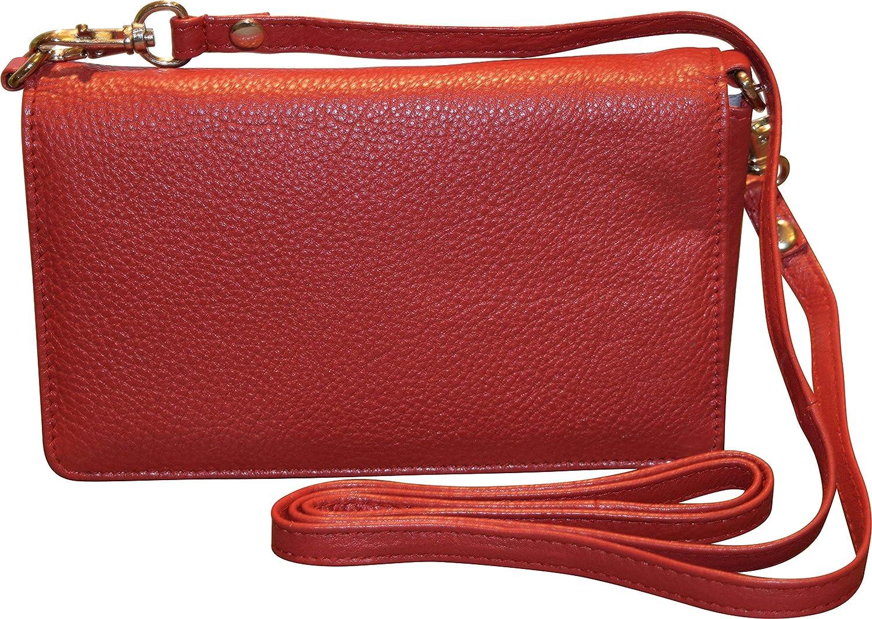 Pielino kvinnors äkta läder smart telefon crossbody plånbok med axelrem Röd