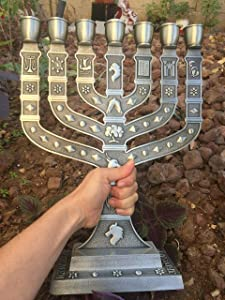 """Yaliland Large Authentic Menorah in Puter with 12 Signs from Jerusalem 14"""" Inch Heigh"""