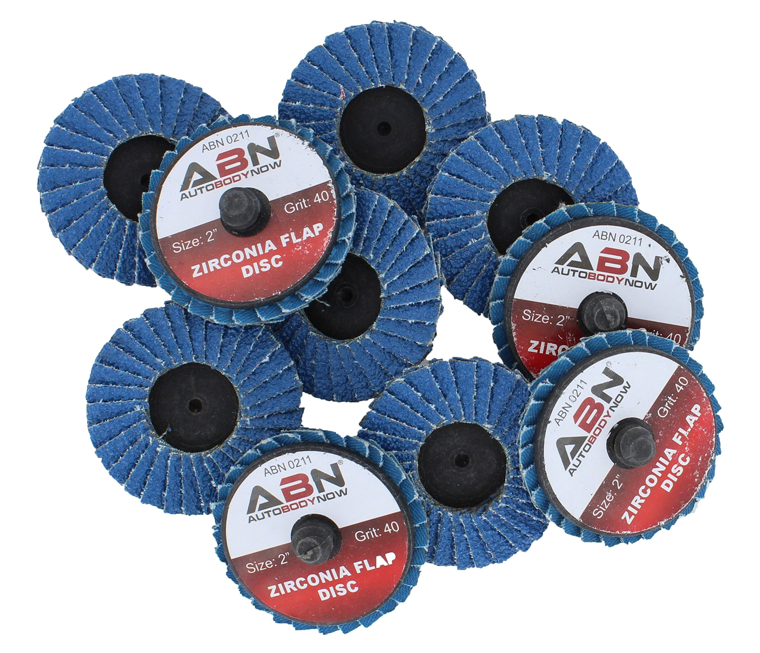 ABN 2in T27 40 Grit High Density Zirconia Alumina Flat Flap Disc Roloc Roll Lock Grinding Sanding Sandpaper Wheels 10 PK by ABN
