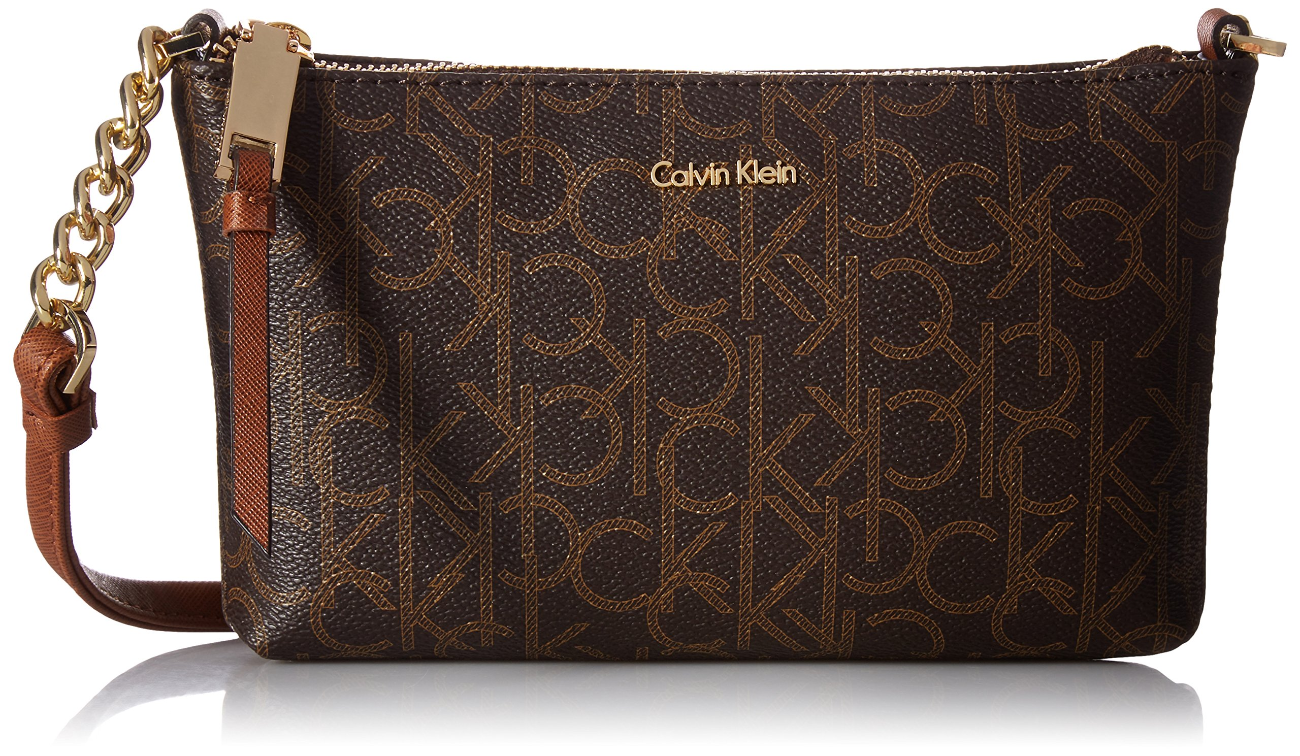 Calvin Klein Hayden Key Item Signature Top Zip Chain Crossbody, Brown Khk/Luggage Seafoam