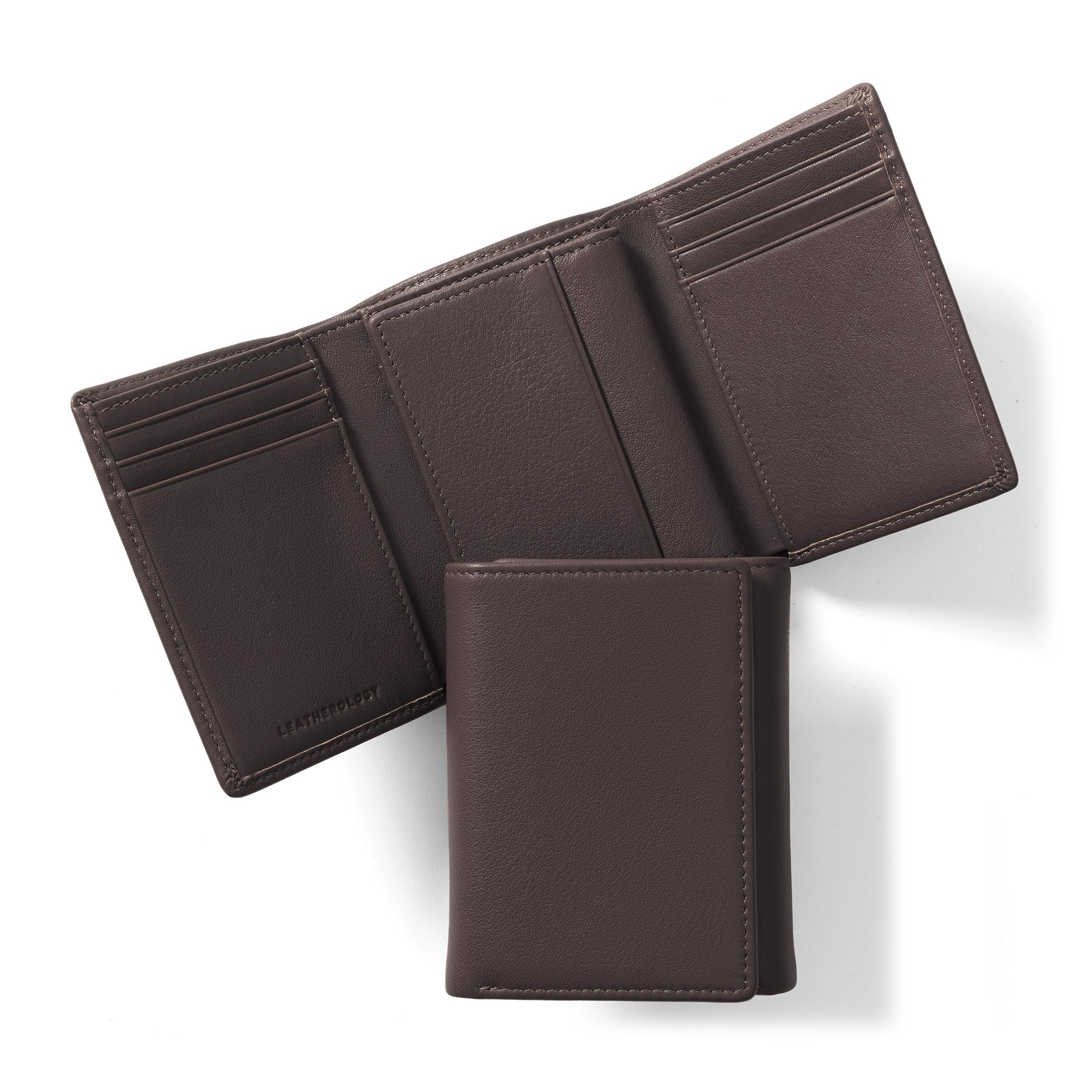 Trifold with Card Wallet - Full Grain Leather Leather - Chocolate Brown (brown)