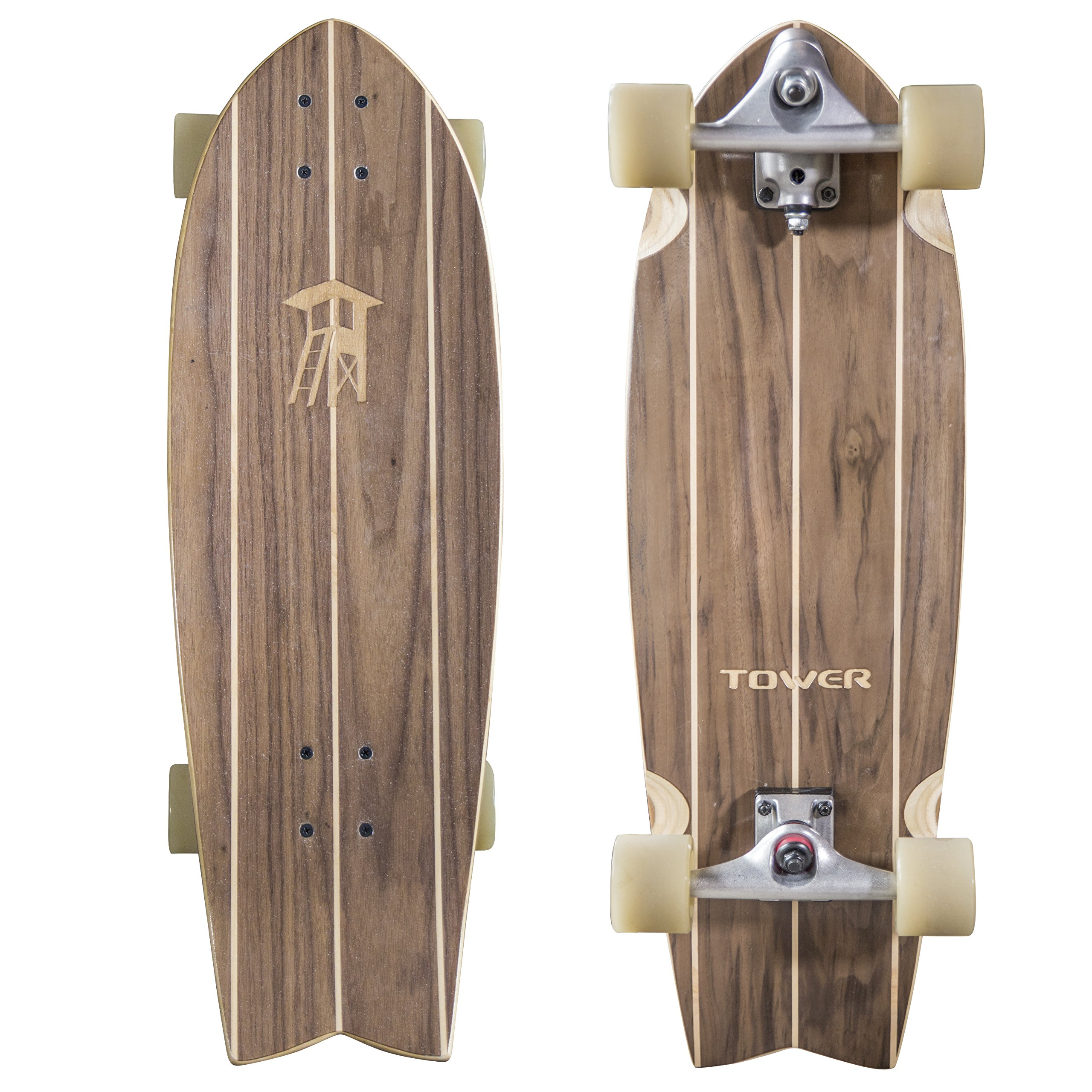 Tower Mini Cruiser Walnut Carving Skateboard