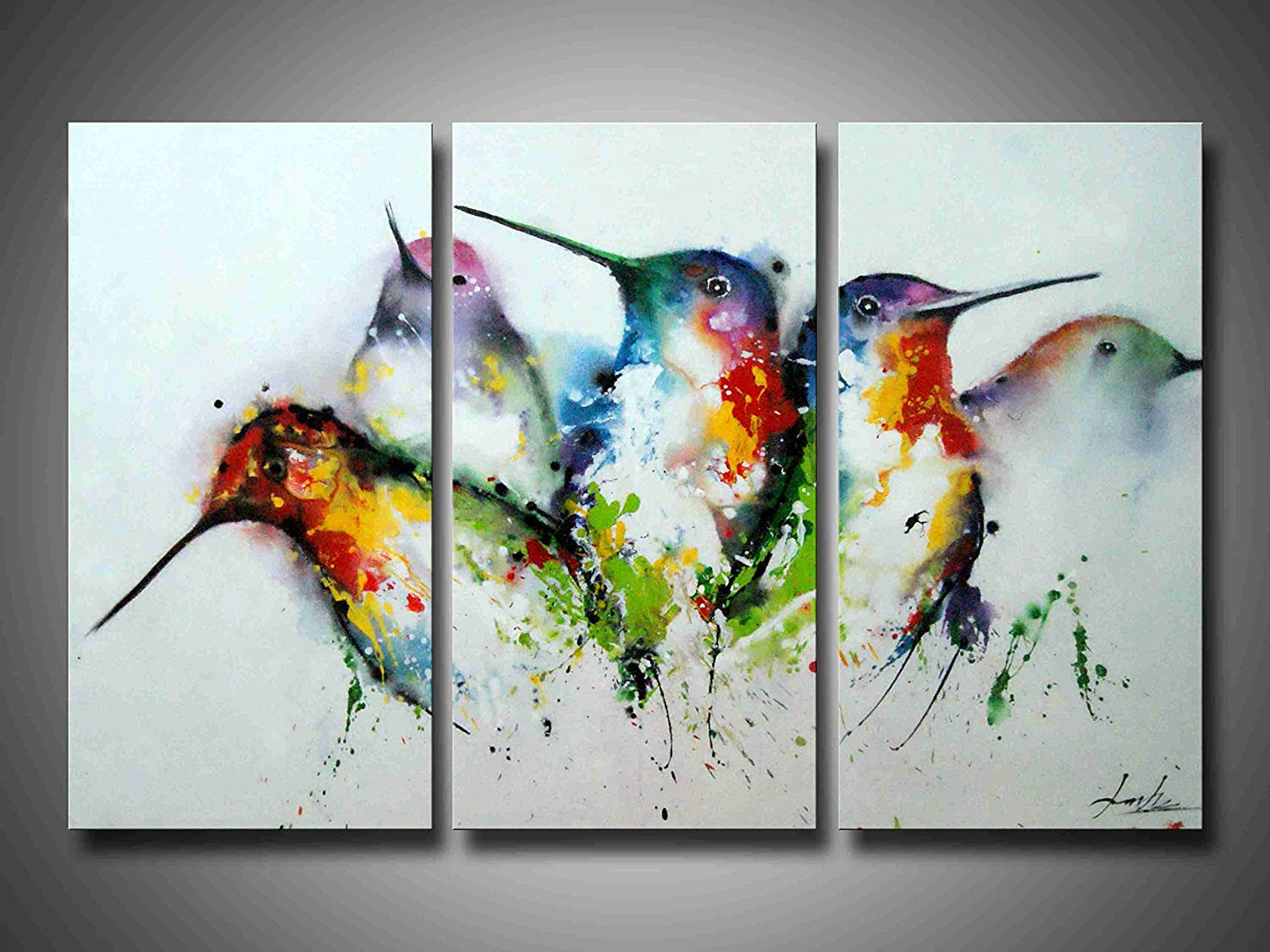 Wall art painting modern - Amazon Com Artland Modern 100 Hand Painted Framed Wall Art Colorful Birds 3 Piece Animal Oil Painting On Canvas For Living Room Artwork For Wall Decor