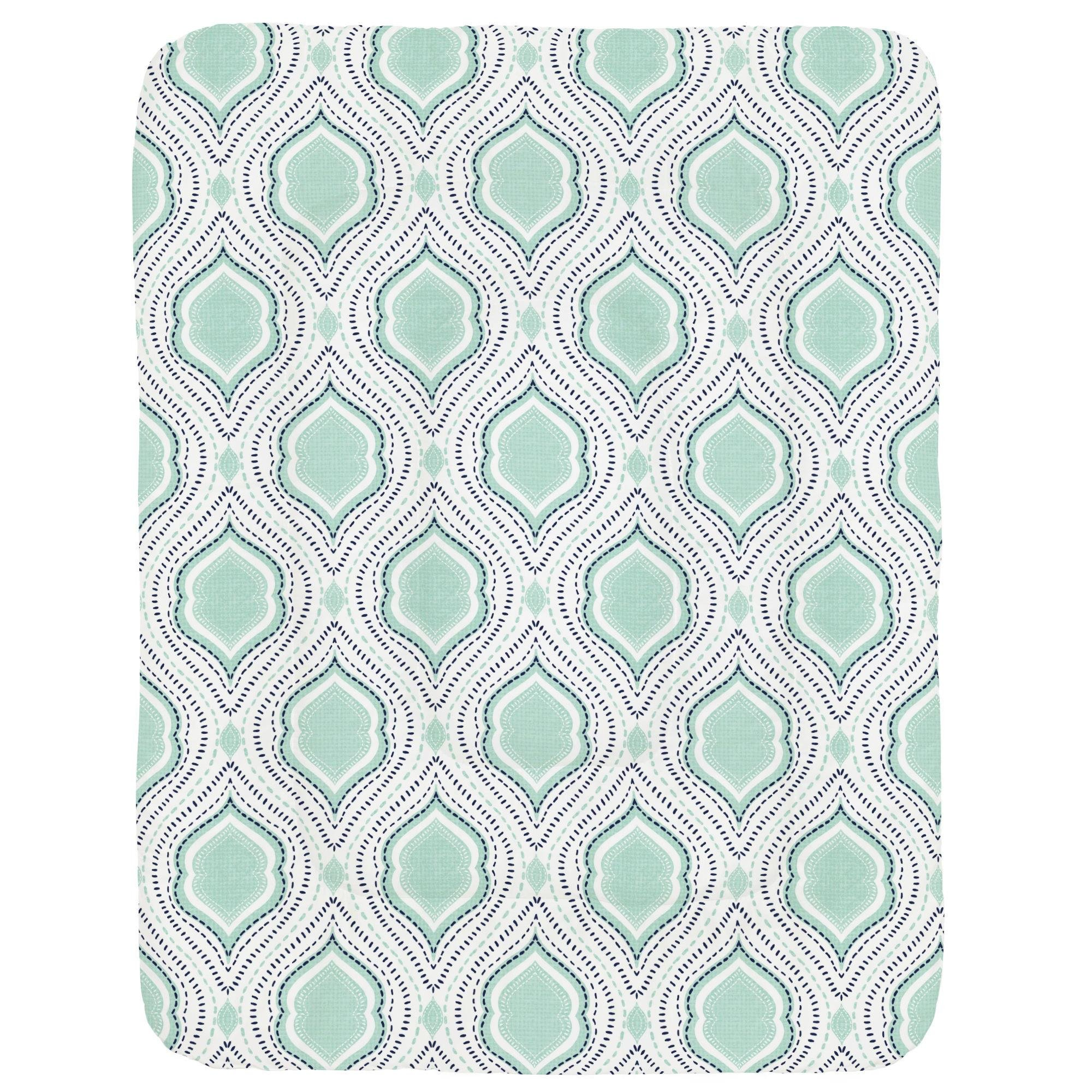 Carousel Designs Mint and Navy Moroccan Damask Crib Comforter