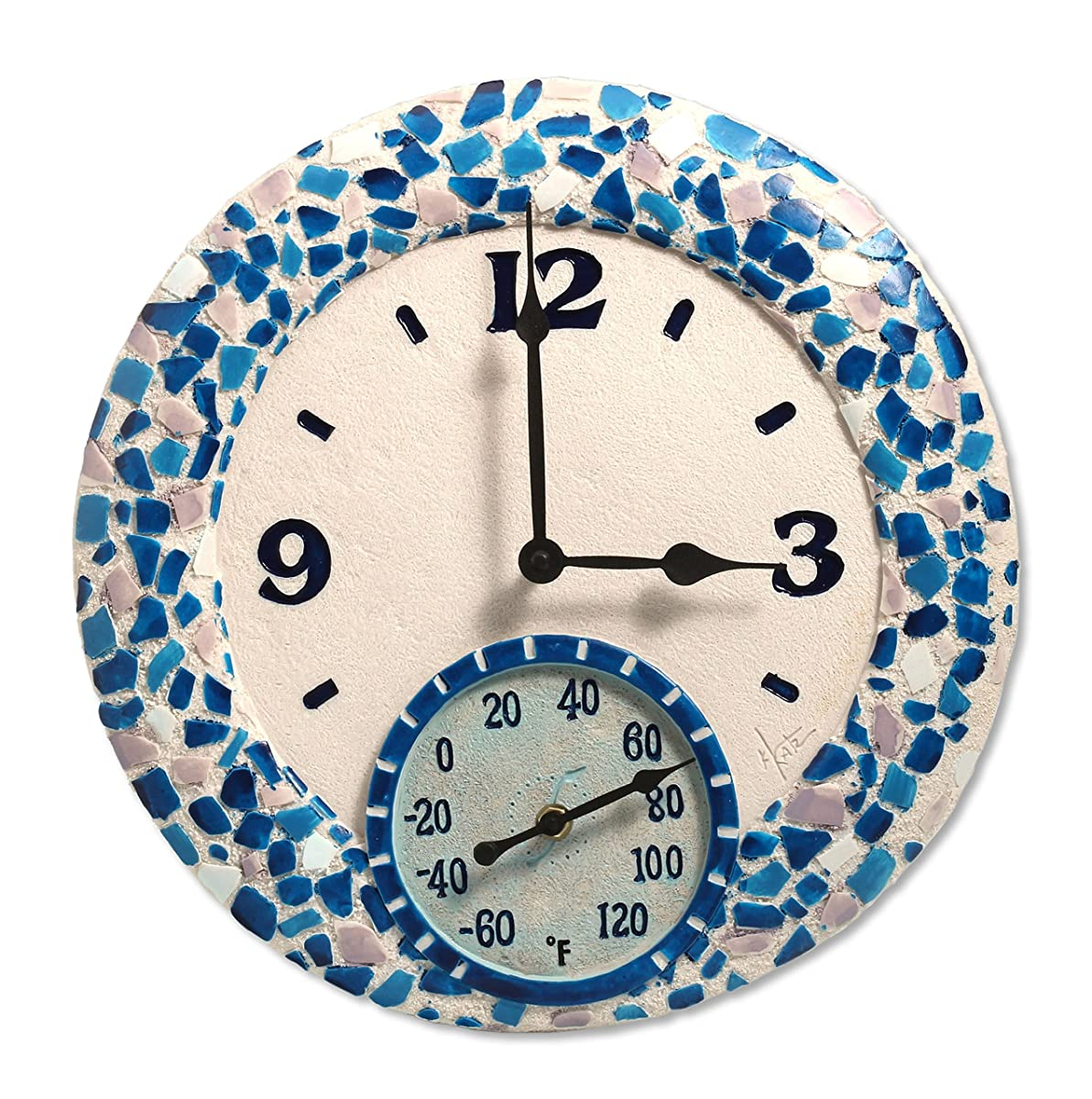 """Springfield 14"""" Mosaic Sea Poly Resin Clock with Thermometer"""