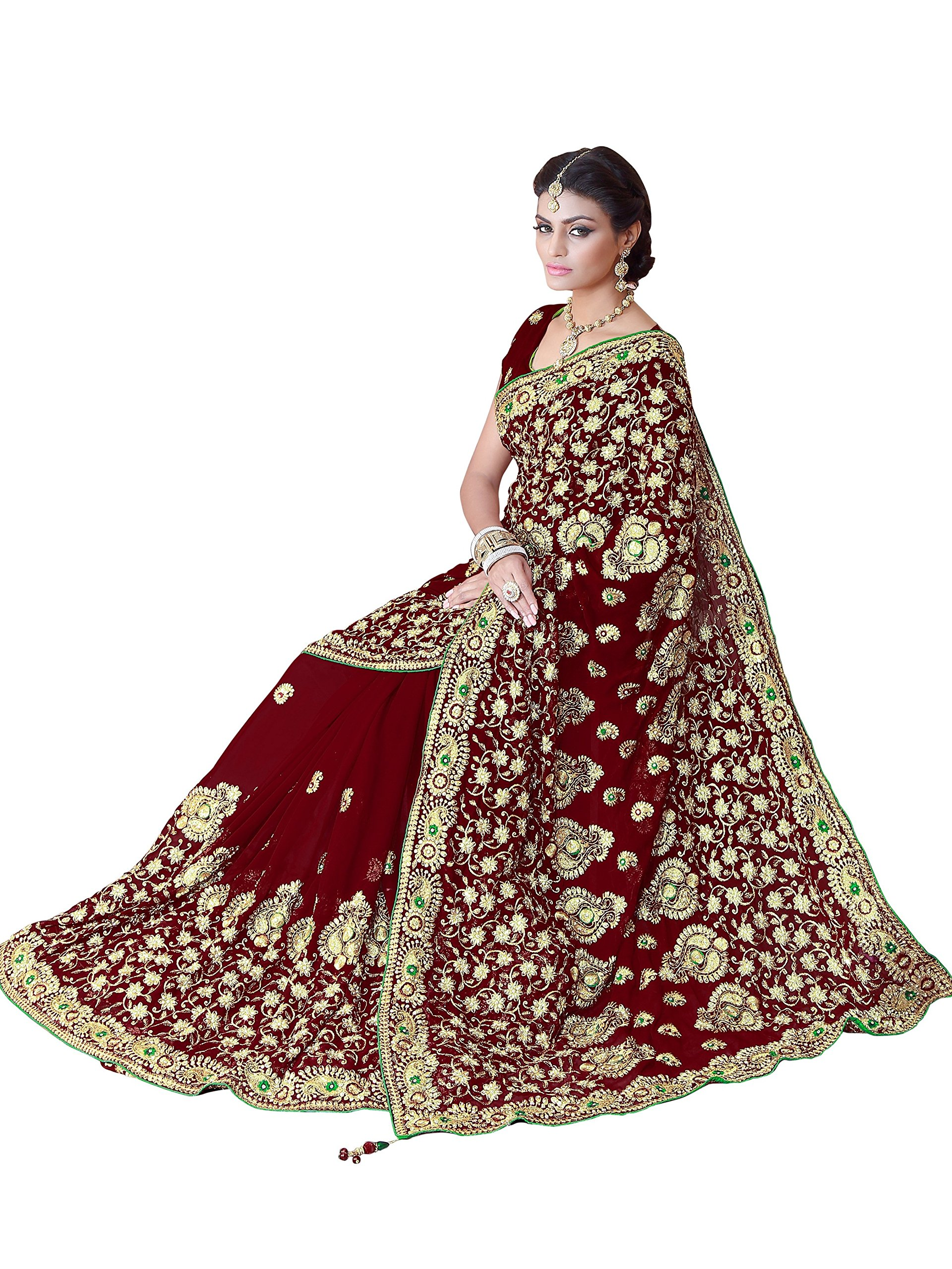 Mirchi Fashion Women's Heavy Embroidery Bridal/Wedding Wear Saree (2386_Maroon)