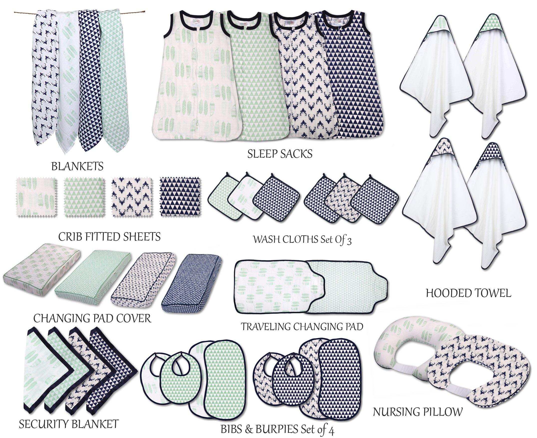 Bacati Emma Triangles 100% Cotton Breathable Muslin Sleeping Bag, Mint/Navy, Small