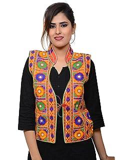 6dfd61241f Banjara India Women's Dupion Silk Embroidered Kutchi Waist Length Jacket/Koti  (MJK-BHK03_Red_Free