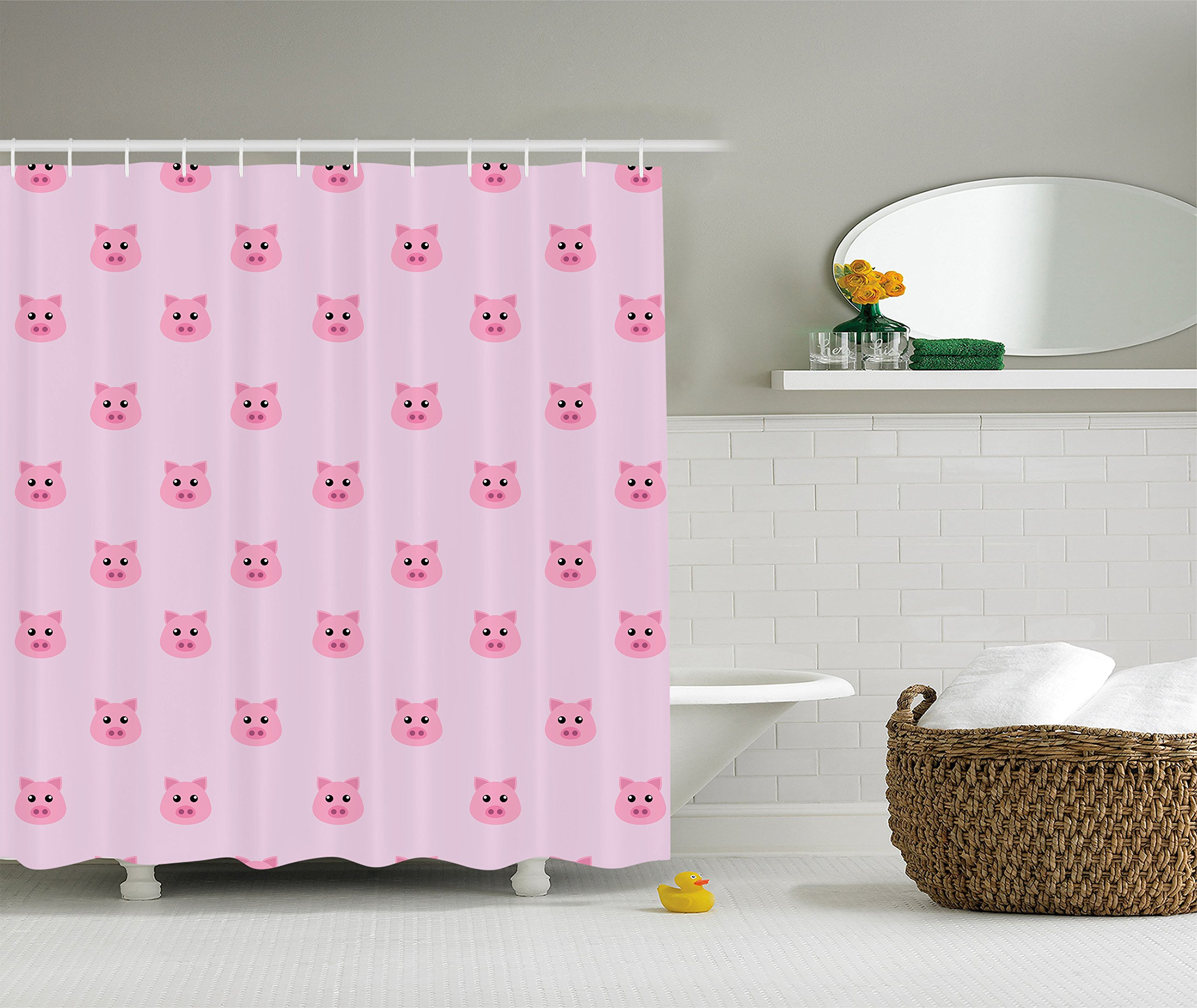 Ambesonne Pig Decor Collection, Pig Avatar Kid-Friendly Clip Art Funny Icon Illustration Design Art Print, Polyester Fabric Bathroom Shower Curtain Set with Hooks, Pink Blush