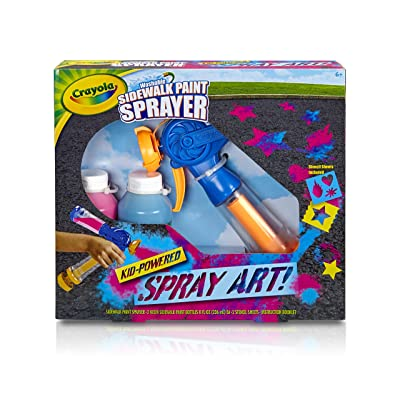 Crayola Washable Sidewalk Paint Sprayer Kit Outdoor Art Gift for Kids 6 & Up, Includes Paint Sprayer, Neon Paint Bottles & Stencils for Creating Vivid Outdoor Art, Washes Away Easily: Toys & Games