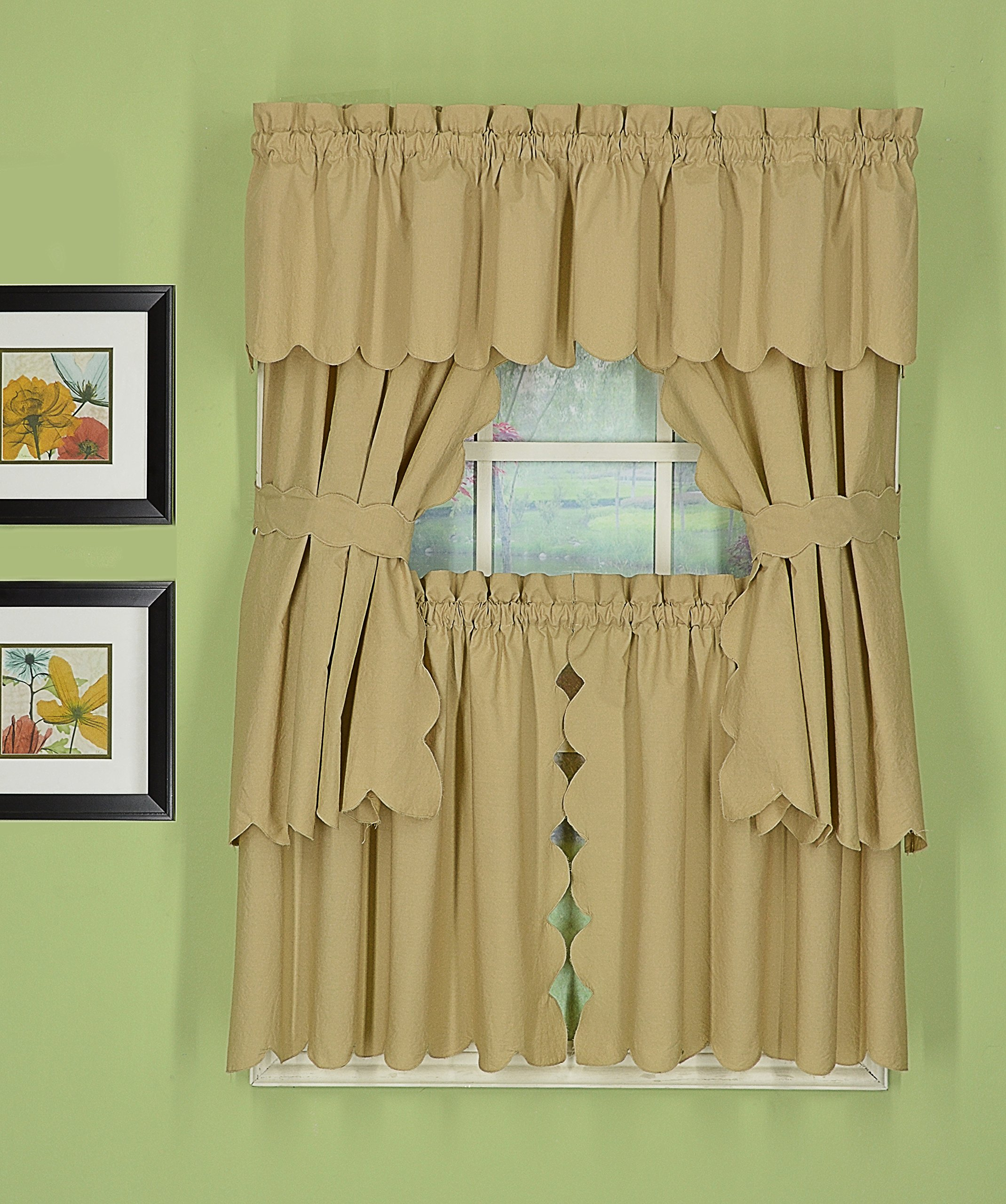 Today's Curtain CA2003K Orleans Tier Pair Tambour Scallop Edge Curtain, 60'' x 24'', Linen