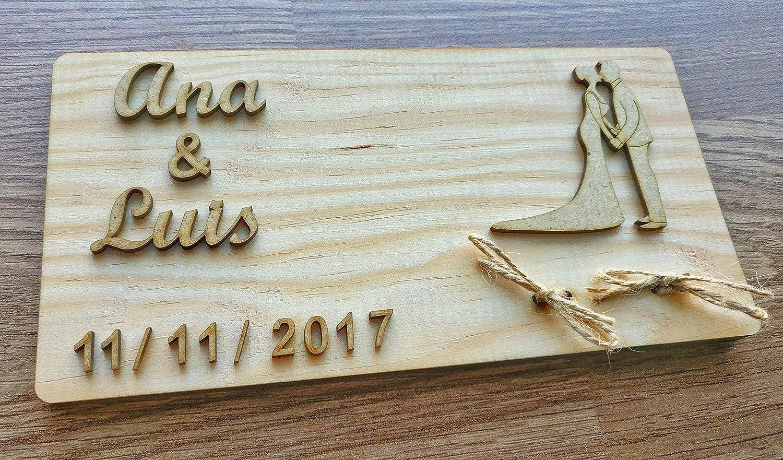 Porta alianzas porta anillos de boda en madera natural rústico/Ideal como regalo de portador de anillo de boda/Almohada cojín personalizado