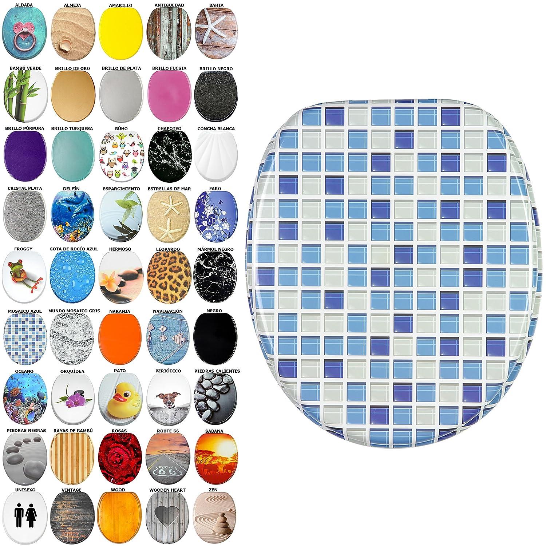 Asiento de inodoro, gran selecció n de atractivos asientos de inodoro con calidad superior y duradera de madera (Mosaico azul) gran selección de atractivos asientos de inodoro con calidad superior y duradera de madera (Mosaico azul) SANILO