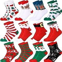 12 Pairs Adult Christmas Holiday Socks Christmas Cozy Fluffy Fuzzy Socks Colorful Xmas Warm Slipper Socks for Men Women