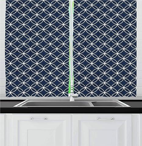 Cool Ambesonne Indigo Kitchen Curtains Trellis Inspired Pattern Quatrefoil Circles Moroccan Style Tile Theme Image Window Drapes 2 Panel Set For Kitchen Interior Design Ideas Clesiryabchikinfo