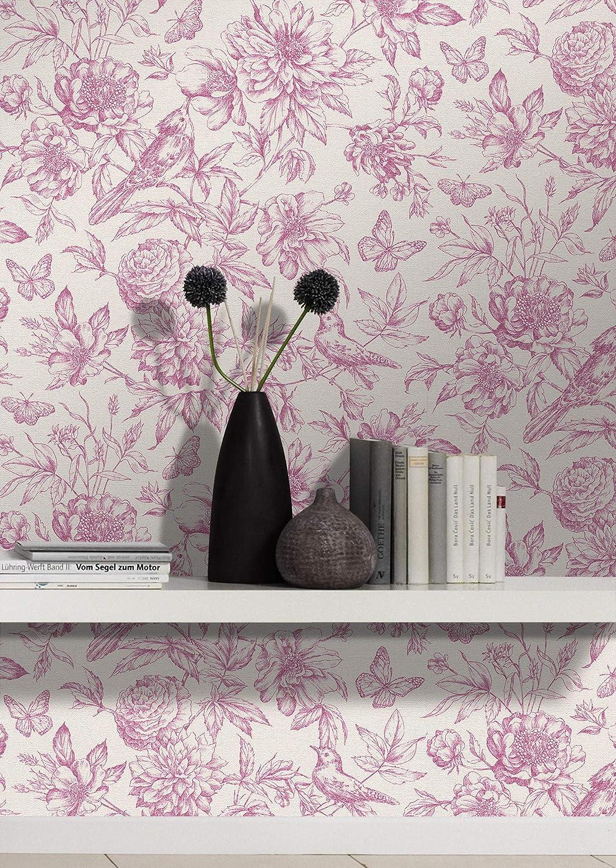 Vliestapete in Beige mit floralem Muster im Vintage Stil rasch Tapete 449457 aus der Kollektion Florentine II L x B 10,05m x 53cm