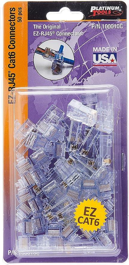 Platinum Tools 100010C EZ RJ45 Cat 6 Connectors Clamshell 100Pcs