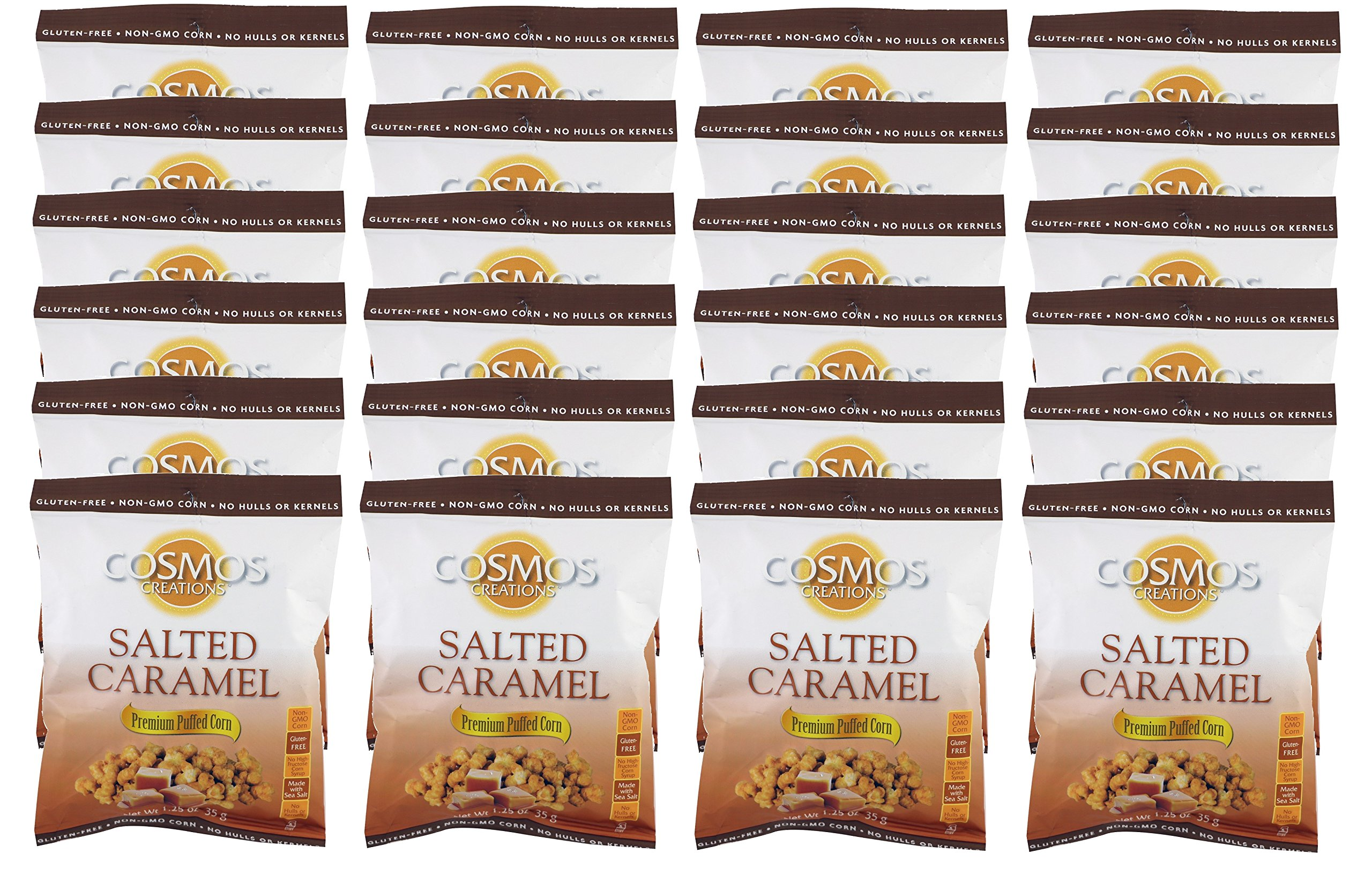 Premium Puffed Corn Snacks - Salted Caramel Popcorn - 1.25 oz Each - 24 Bags Value Pack