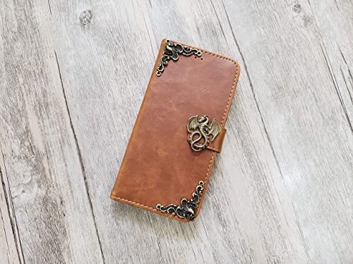 Dragon Envelope Leather Wallet Handmade Phone Wallet Case Cover for iPhone 8 7 6 6s X Xs Xr 11 Pro Max Samsung Galaxy S8 S9 S10 Plus Note 8 9 10 Plus Mn1078