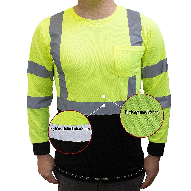 Black Bottom 3X, Green NY BFL8712 High-Visibility Class 3 T Shirt with Moisture Wicking Mesh Birdseye