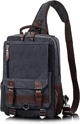 H HIKKER-LINK Canvas Messenger Bag Crossbody Shoulder Backpack Sling Bag Rucksack Daypack Casual Travel School