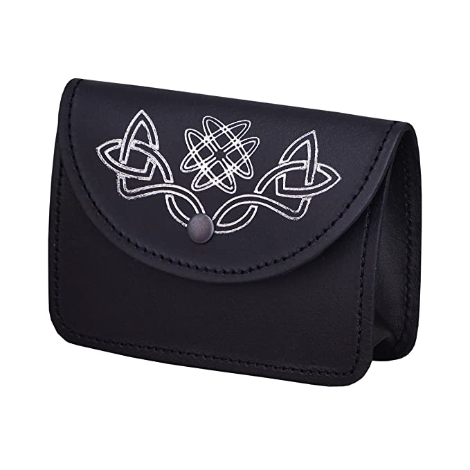 422cc0d9a30a Black Kilt Belt Pouch With Celtic Embossed Silver100% real Leather ...