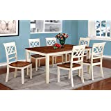Furniture Of America Cherrine 7 Piece Country Style Dining Set,  Cherry/Vintage White