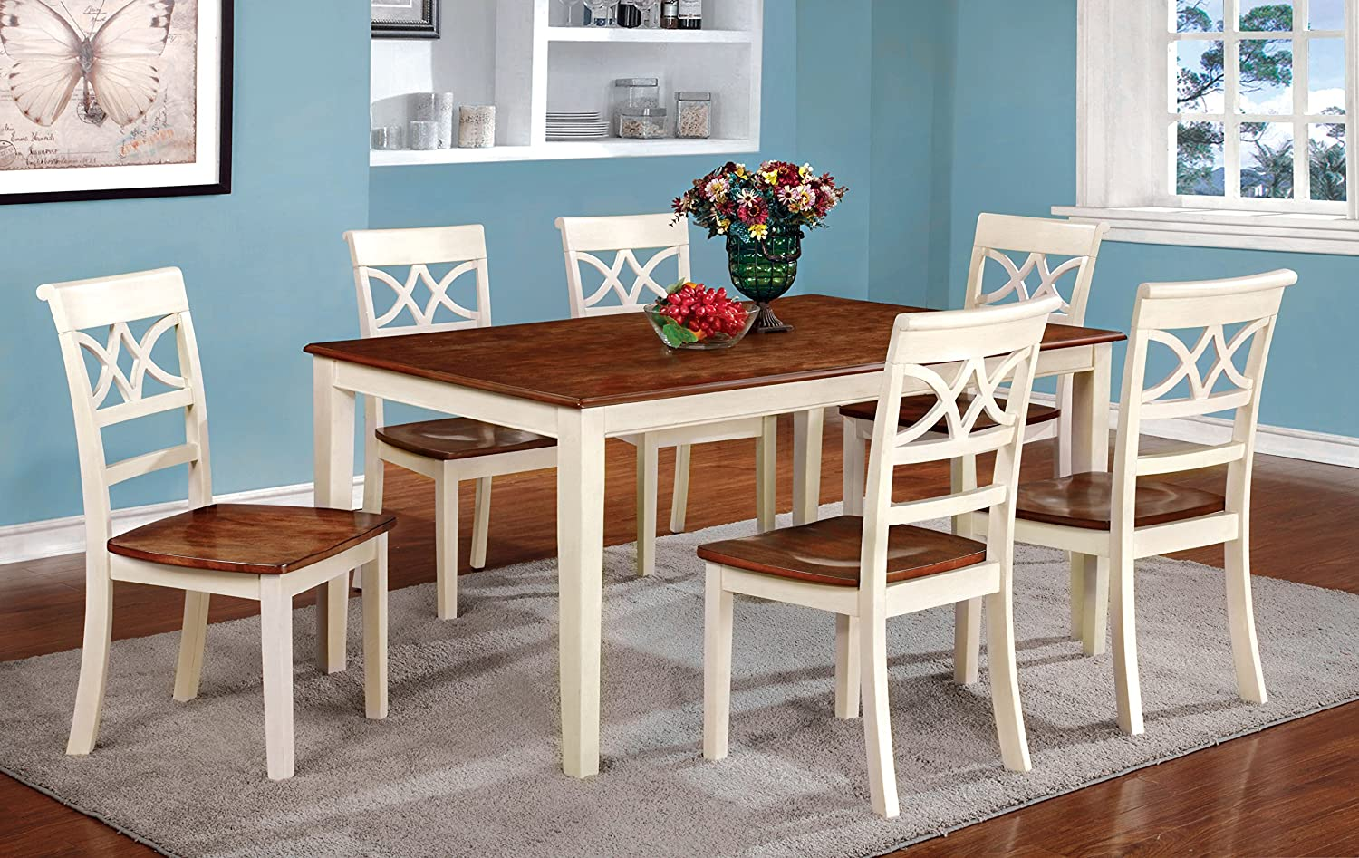Amazon.com   Furniture Of America Cherrine 7 Piece Country Style Dining Set,  Cherry/Vintage White   Table U0026 Chair Sets