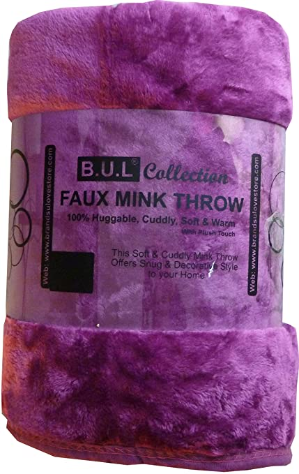 Faux Fur Mink Blanket Throw Luxury Fur Throw 200x240cms Plum Extra Large 3  Seater Sofa King 232dfd5cb