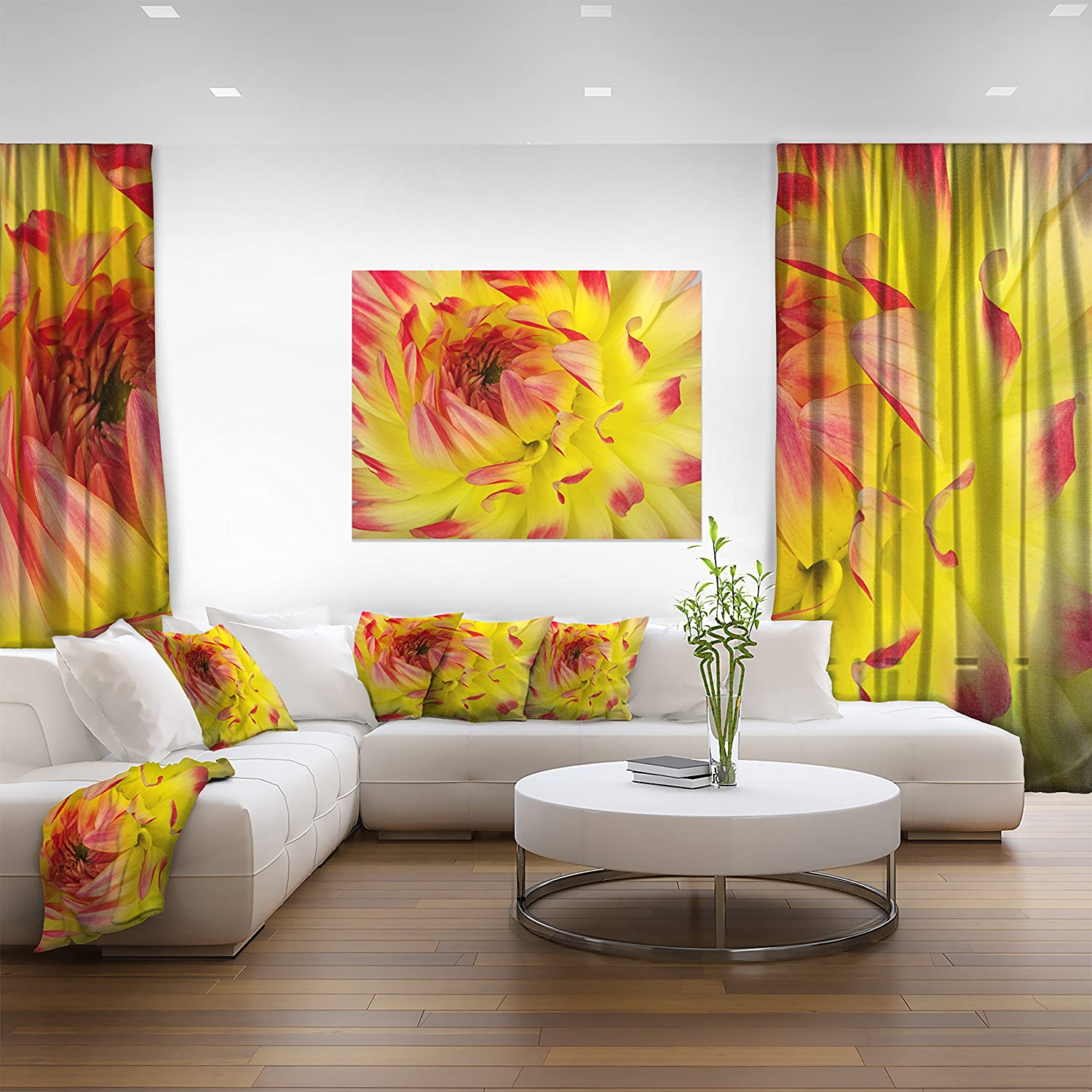 Amazon.com: Smooth Yellow Red Flower Petals Floral on Canvas Art ...