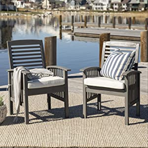 Walker Edison Furniture Company 2 Piece Outdoor Patio Ladder Back Wood Chair Set with Washable Cushions All Weather Backyard Conversation Garden Poolside Balcony, Set of 2, Grey