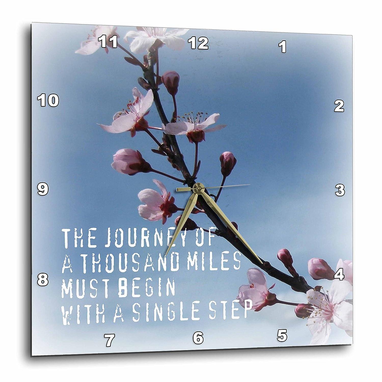 3dRose dpp/_30902/_3 Journey Zen Cherry Blossom Inspirational Flowers-Wall Clock 15 by 15-Inch