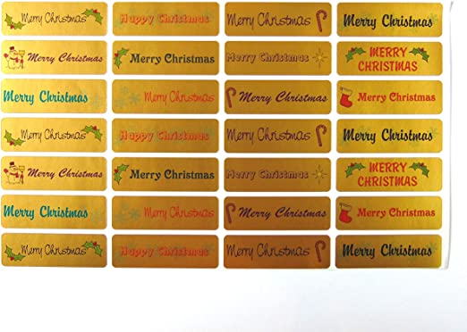 Gold Merry//Happy Christmas Greeting Stickers Labels for Cards,Envelopes XG4413
