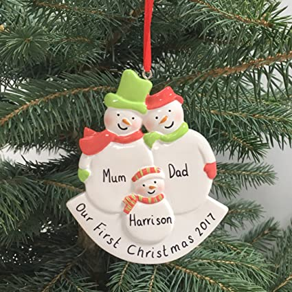 cea60901a4b38 Frankly Decor Personalised Snowmen Christmas decoration, family's first  decoration, my 1st Xmas decoration, baby gift ornament