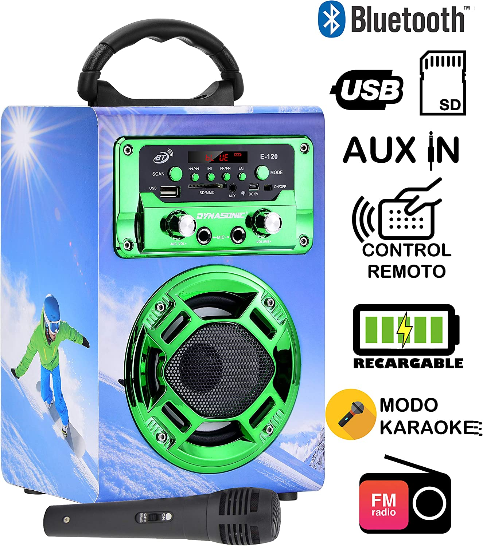 Dynasonic 120-5 - Mini Altavoz Bluetooth portátil, diseño Snowboarding, Color Verde