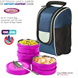 BMS Lifestyle Executive 2in1 Steel & Polypropylene Lunch Box Set, 6 Pieces, Pink