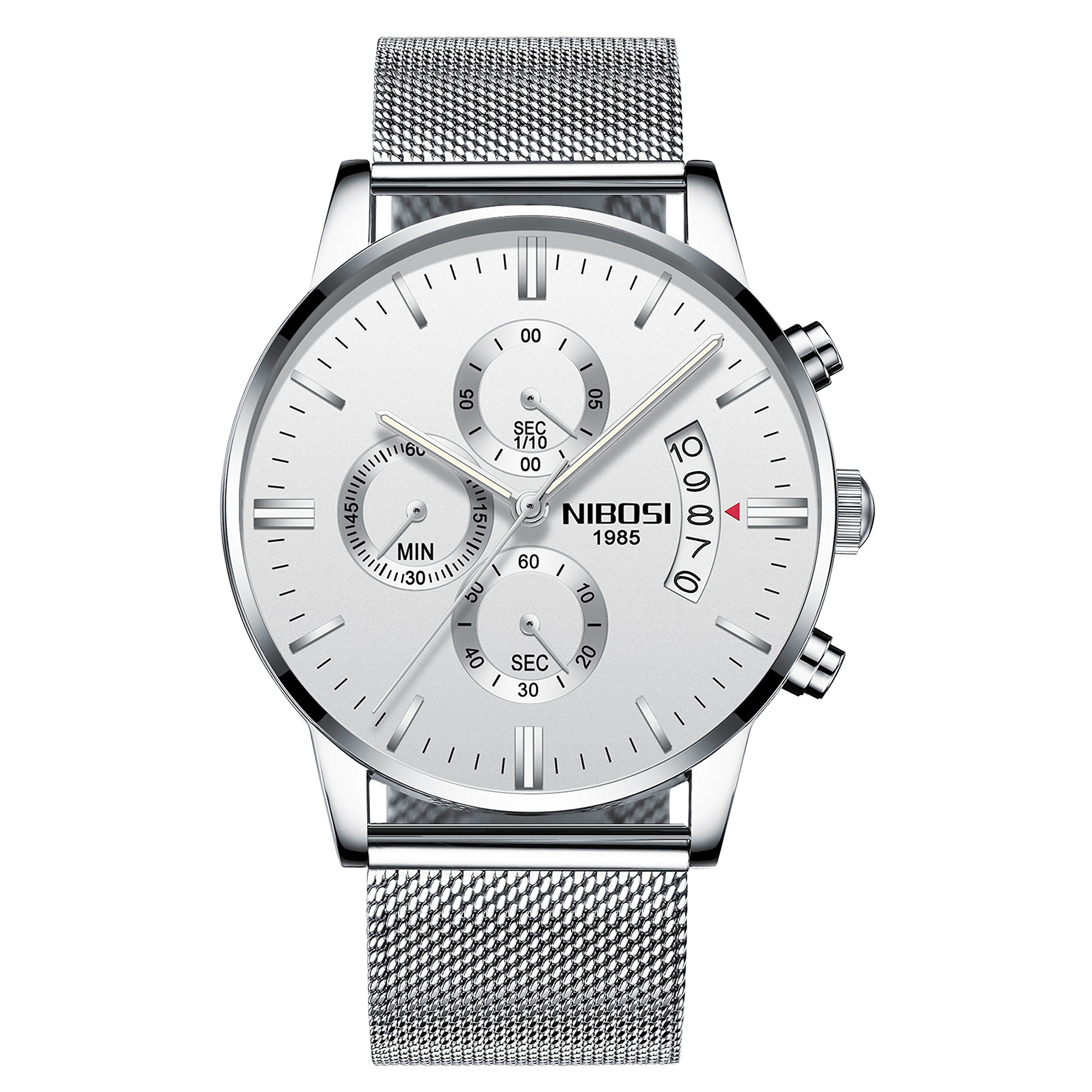 NIBOSI Men's Watches Luxury Chronograph Calendar Waterproof Military Quartz Wristwatches for Men Mesh Alloy Milanese Style Bracelet 2309-GKMBwd by NIBOSI