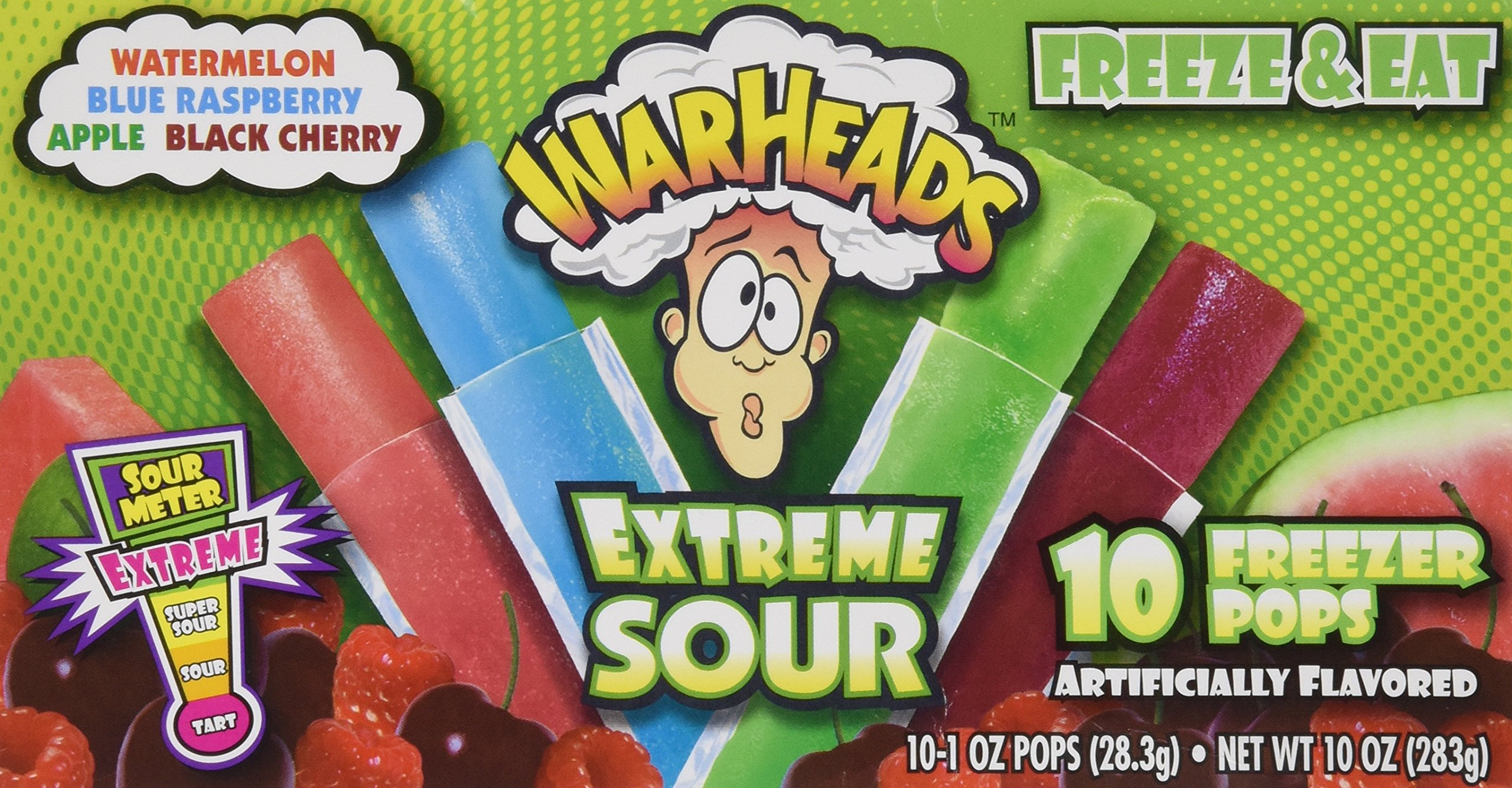 Warheads Extreme Sour 10 Freezer Pops (Pack of 3)