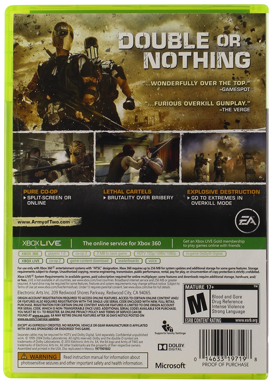 Electronic Arts Army of Two - Juego (Xbox 360): Amazon.es ...