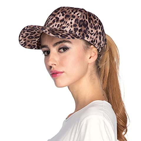 967c053015ddd ... top 10 baseball hats for women in 2018  1. Hatsandscarf C.C Faux Suede  Leopard Print Fabric Ponytail Baseball Cap (BT-52)