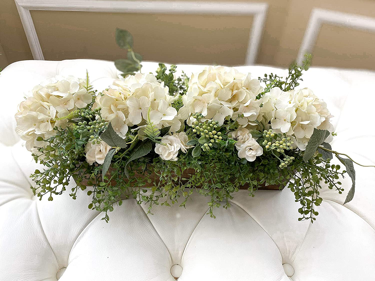 Farmhouse Hydrangea Centerpiece With Greenery Silk Flower Dining Table Center Piece Kitchen Island Centerpiece Mantel Decor Handmade