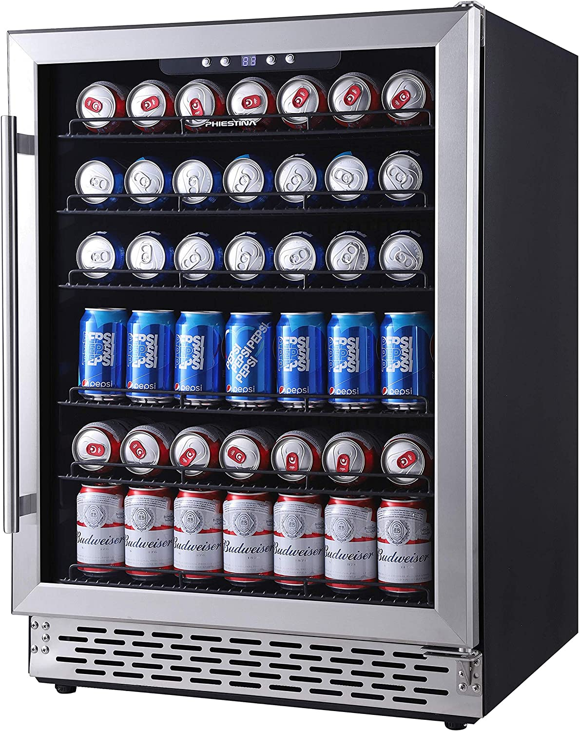 Phiestina 24 Inch Beverage Cooler Refrigerator – 175 Can Built-in or Free Standing Beverage Fridge with Glass Door for Soda Beer or Wine – Drink Fridge For Home Bar or Office
