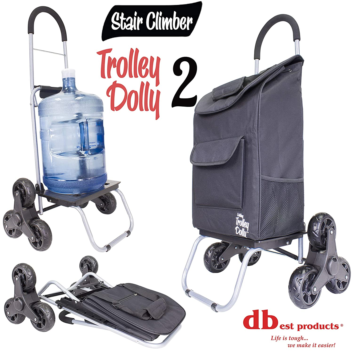 Black Grocery Foldable Cart Condo Apartment Stair Climber Trolley Dolly 2